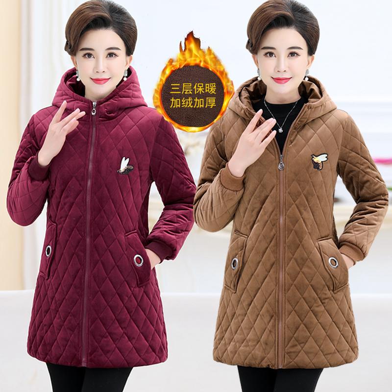 中老年女装冬装棉衣棉袄妈妈装冬季上衣老年人加绒加厚棉服外套新