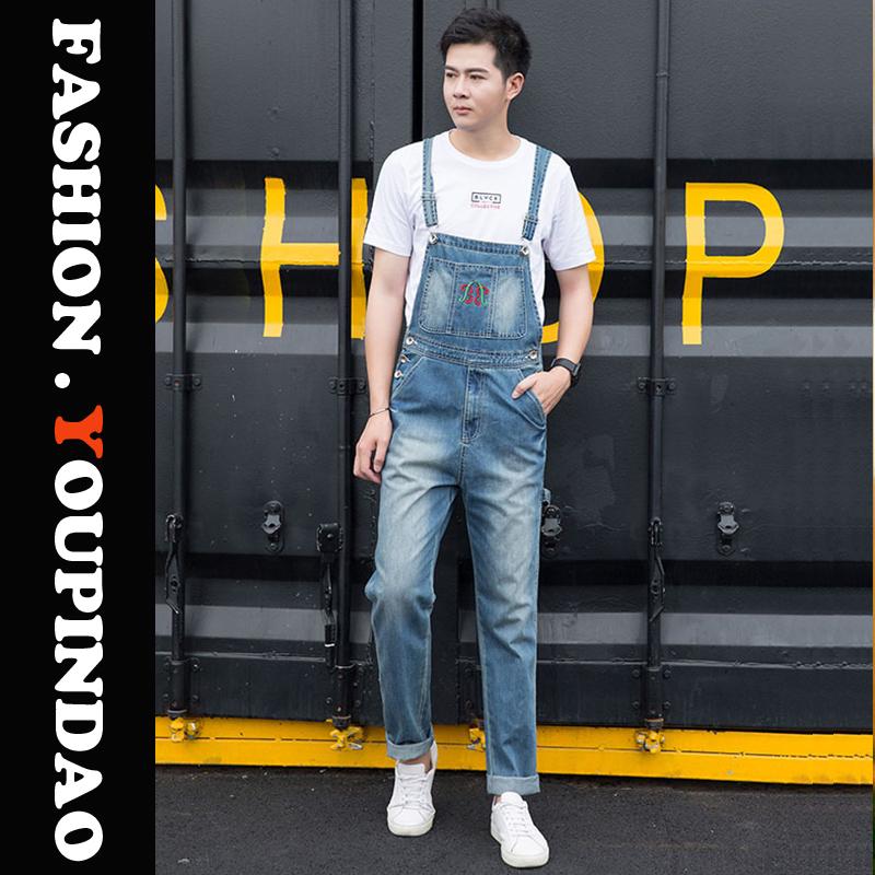 New fashion mens casual printed Multi Pocket Jeans suspenders casual fashion mens suspenders 46