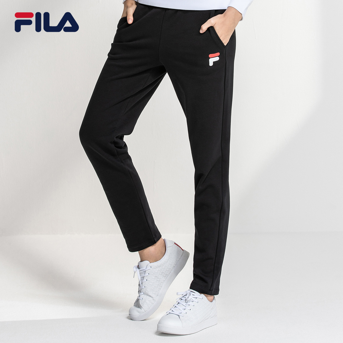 FILA Official Women's Knitted Pants 2020 Autumn and Winter New Straight Casual Sports Ins Pants Trend