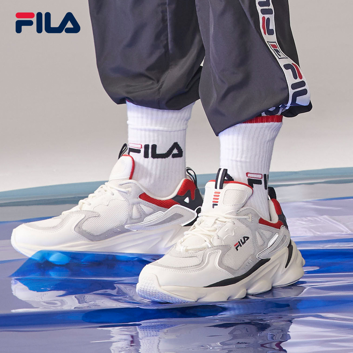 FILA Feile men's shoes official dad shoes spring and summer mesh breathable casual sports shoes men's Retro Running Shoes