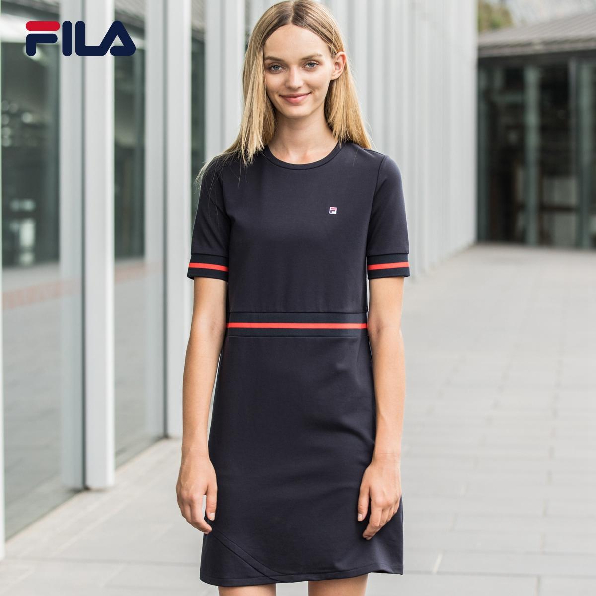 FILA фиджи музыка платье 2018 новый летний круглый вырез полоса тонкий короткий рукав движение платье