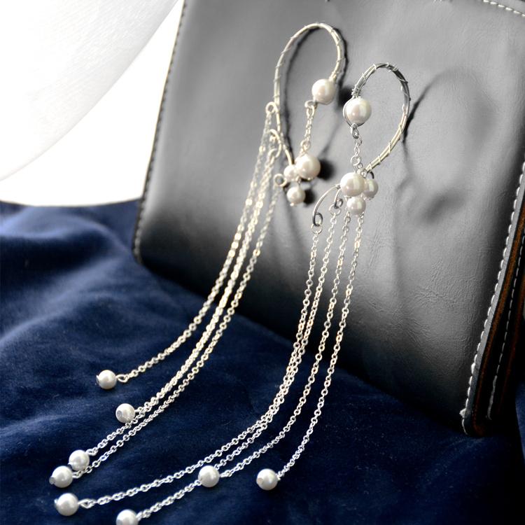 精灵耳饰纯手工制作银色珍珠长款流苏银链条耳挂耳环耳夹银饰首饰图片
