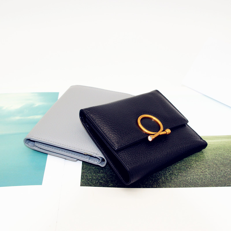 European and American brand leather wallet womens short 2017 new Korean version simple three fold cow leather money 6ddd6fwn