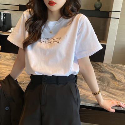 短袖T恤女装夏季ins潮网红2020年新款纯棉打底白色上衣服宽松体恤