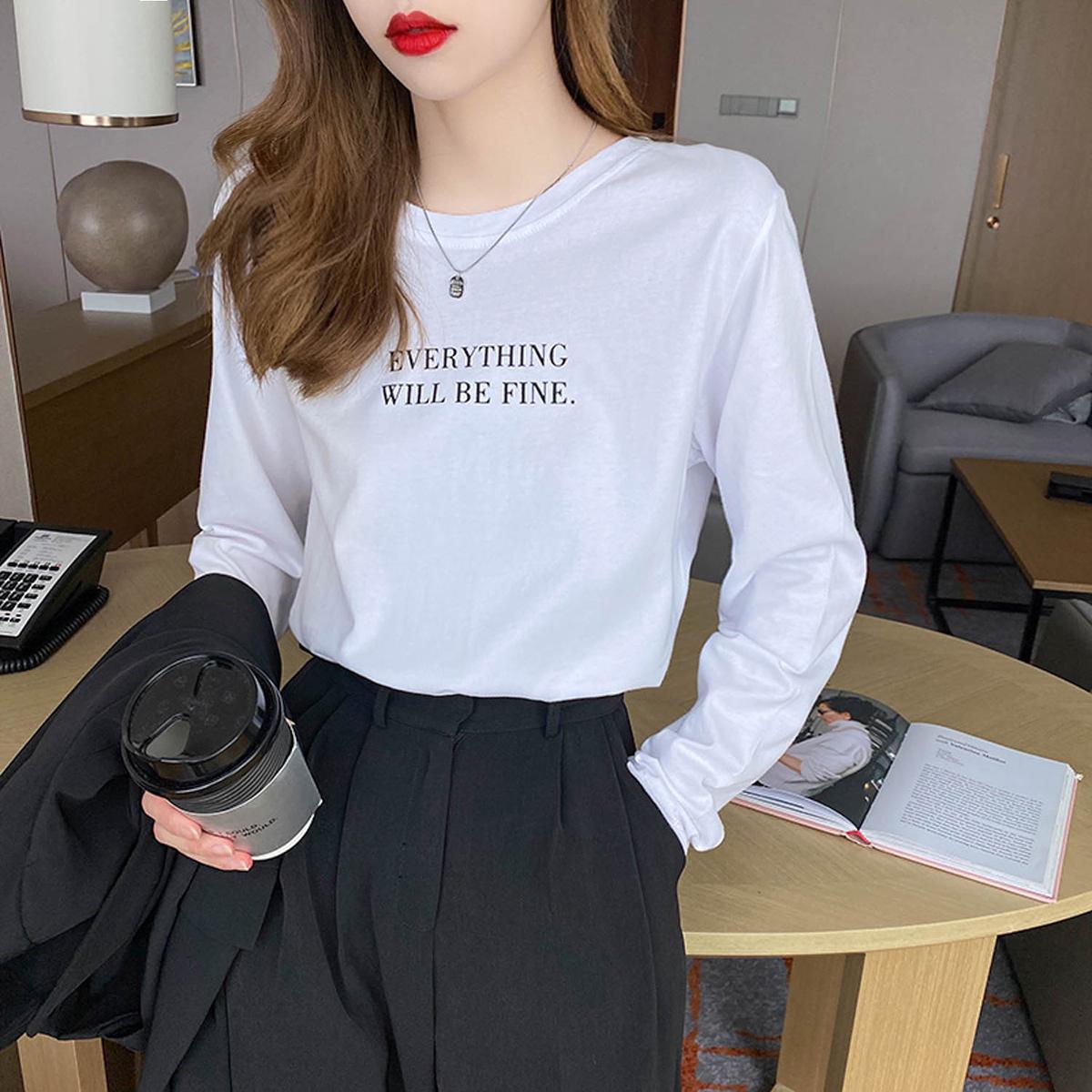 白色长袖t恤女装2020新款打底衫...