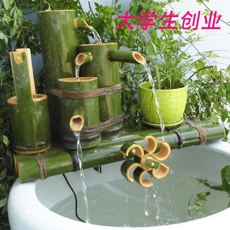 Бамбук проточная вода устройство бамбук трубка проточная вода бамбук украшение фэн-шуй круглый аквариум камень корыто рыба бассейн фильтр декоративный украшение