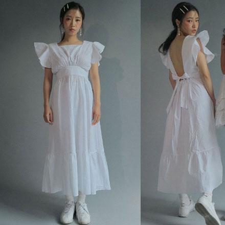 韩国代购女装2018夏装新款时尚性感露背耸肩高腰无袖中长款连衣裙
