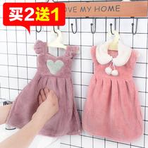 条装挂式擦手巾可爱花朵星星珊瑚绒厨房毛巾加大强力吸水布韩国2