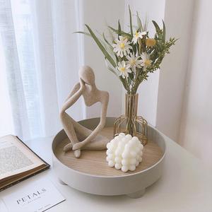 北欧风ins创意抽象人物雕塑摆件砂岩树脂家居装饰品时尚博主同款