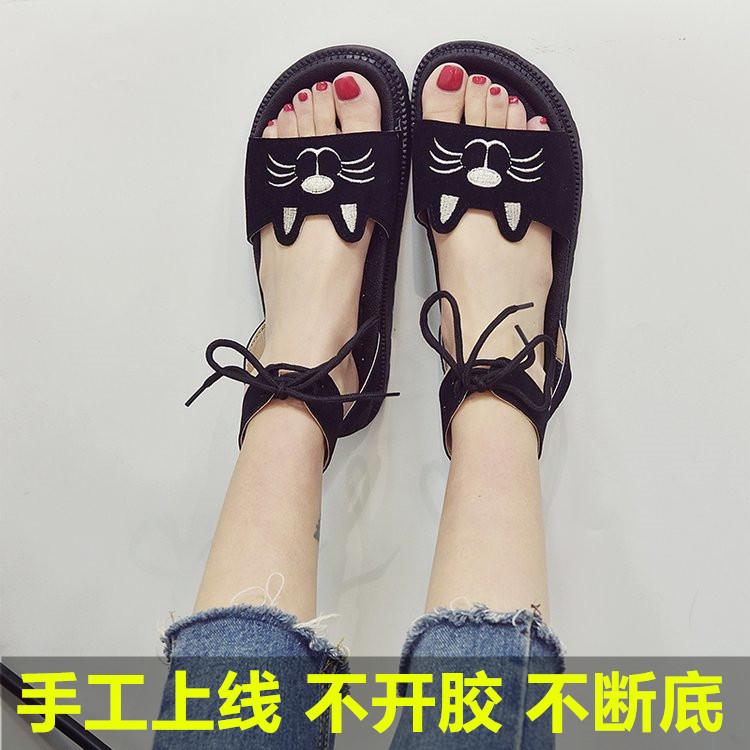 少女孩12大童凉鞋女夏季韩版百搭13初中学生猫头平底罗马女鞋15岁