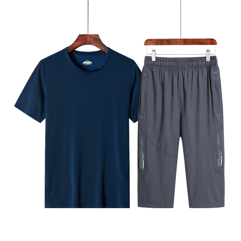 Capris mens summer sports suit middle aged and elderly short sleeve T-shirt ice silk quick drying top summer loose fathers clothes