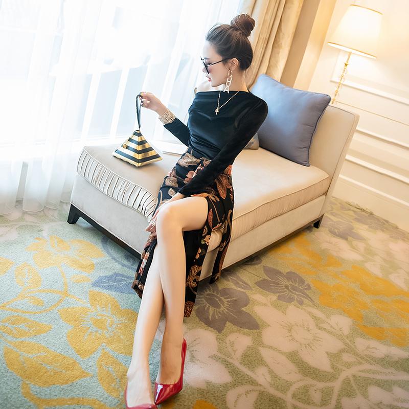 时尚套装两件套初秋2019新款女装气质名媛丝绒上衣搭配高腰半身裙限3000张券
