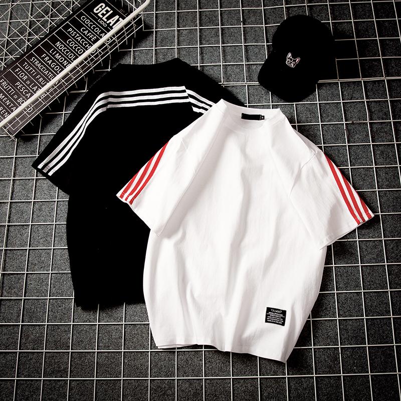 2018夏季新款条纹短袖T恤男士加肥大码宽松衣服夏装韩版潮流男装