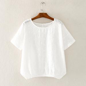 溜肩休闲短款纯色棉麻打底夏季t恤
