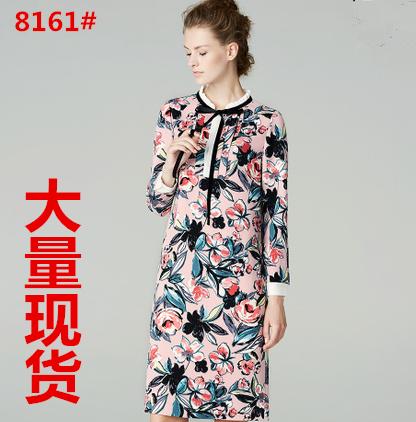 2017秋季新款高端时尚长袖宽松蝴蝶结碎花中长连衣裙