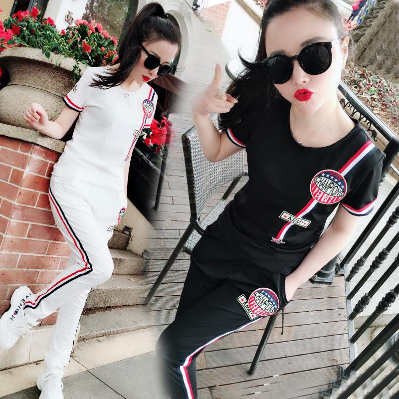 欧洲站春夏装2018新款时尚两件套洋气女装半袖休闲时髦运动套装潮