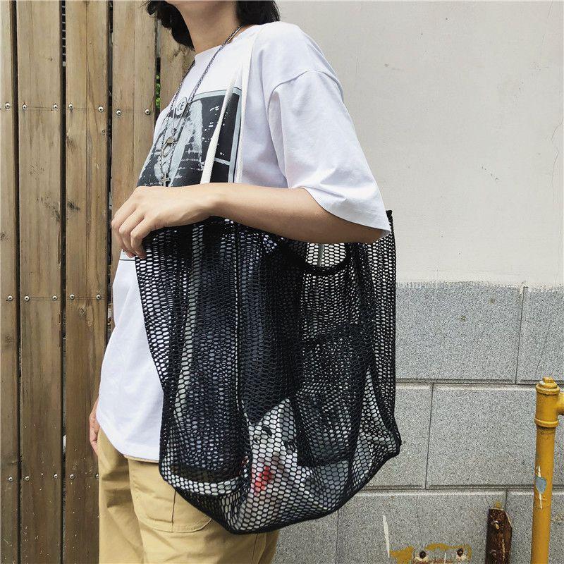 夏季包包女透明镂空网眼大容量糖果色手提包港风网格购物袋休闲包