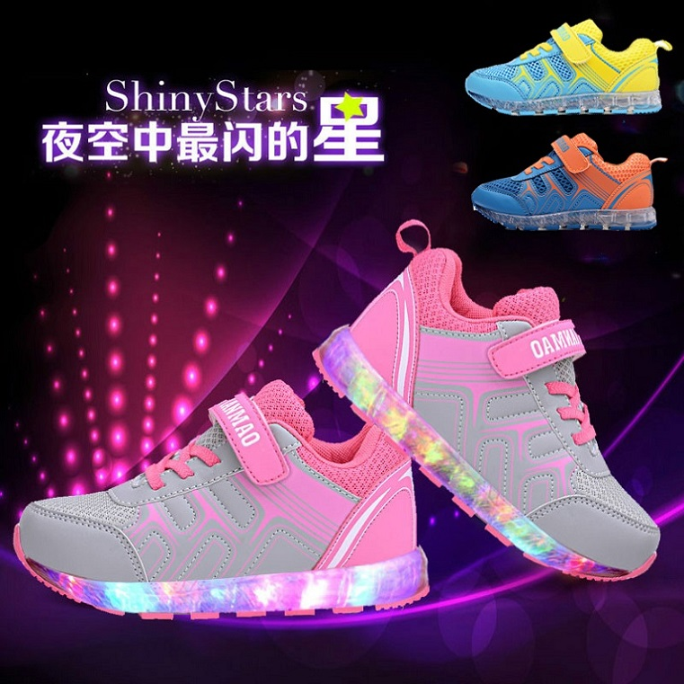 Childrens luminous shoes USB charging spring and autumn girls light shoes mesh flash boys breathable sports shoes with lights