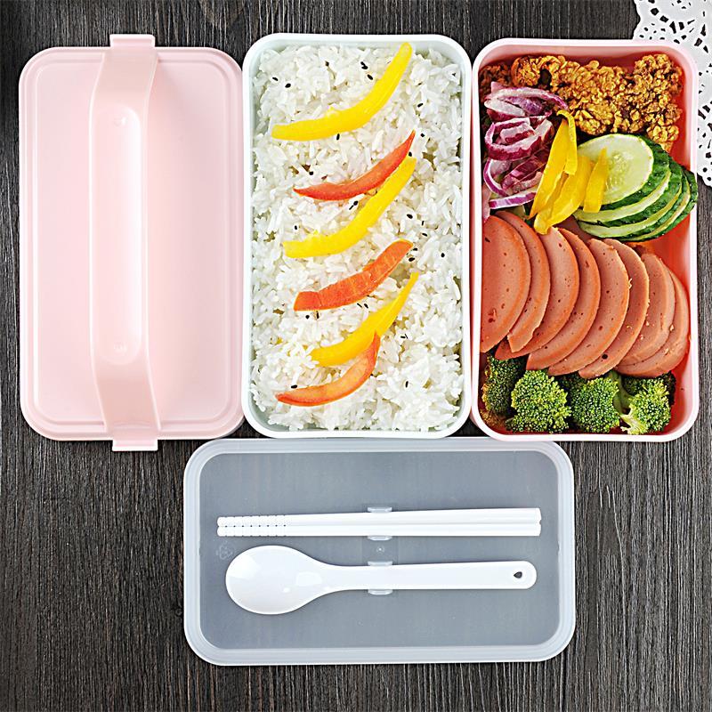 日式可微波手提飯盒雙層塑料分格便當盒 學生餐盒保鮮盒帶餐具