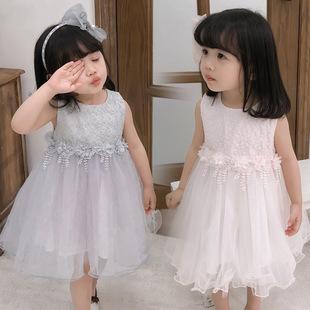 2019女童蕾絲無袖連衣裙夏季韓版新款六一表演公主裙洋氣童裝