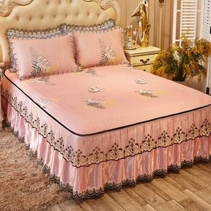 床裙款冰丝凉席三件套夏季1.8m可水洗机洗折叠空调席1.5米2软席子