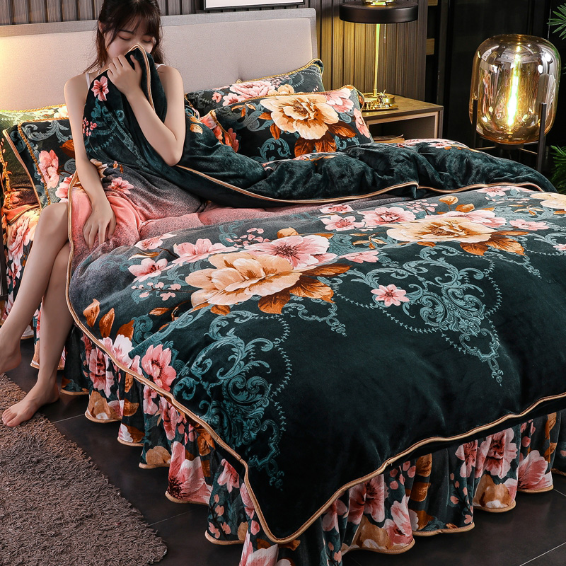 牛奶绒珊瑚绒四件套法兰绒被套床单冬季双面水晶貂狐床裙床上用品