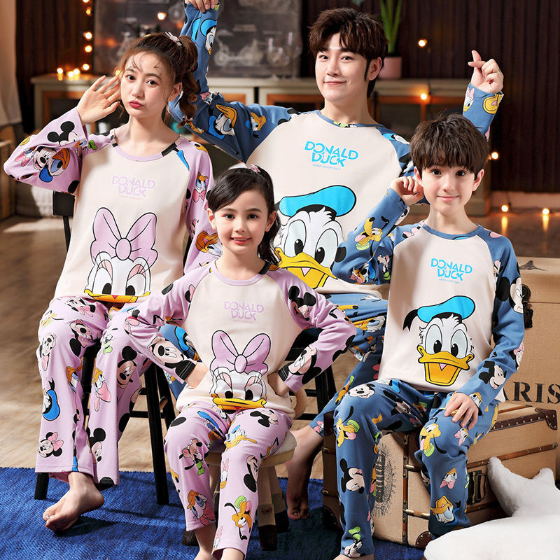 Parents and childrens pajamas long sleeve familys three childrens suits