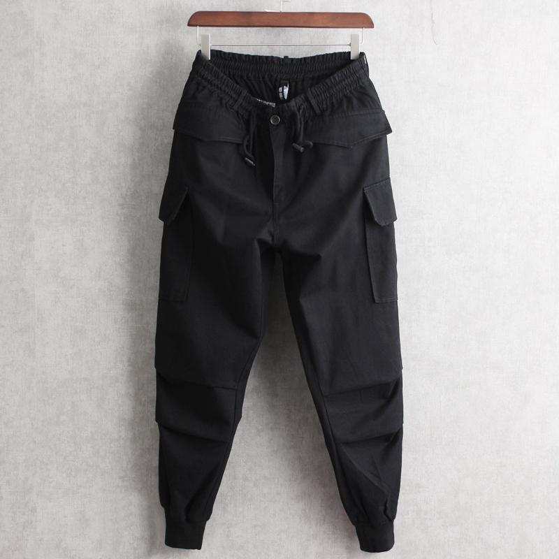 限时2件3折潮牌松紧系带多口袋束脚裤小脚裤