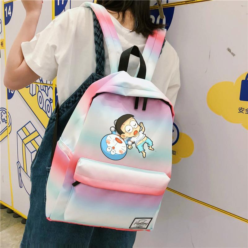 哆啦a梦书包女 高中学生韩版叮当猫猫书包双肩包减负帆布背包女孩