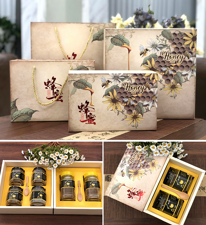 新款蜂蜜包装盒礼盒 土蜂蜜包装礼品盒 1-4斤装蜂巢蜜礼盒可定制