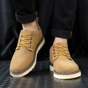 春夏复古低帮休闲鞋板鞋潮马丁鞋防水伐木鞋真皮工装鞋透气男单鞋
