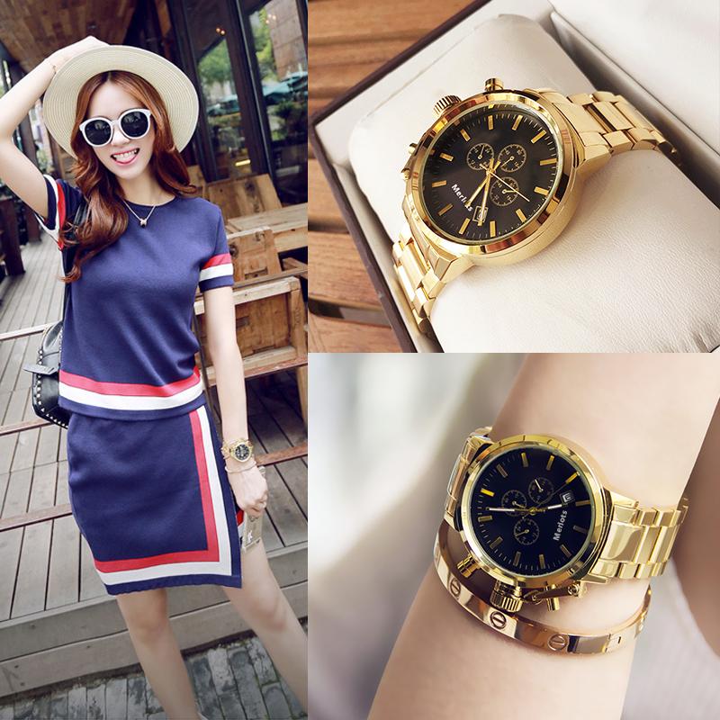 经典韩版时尚钢带手表女个性机械造型简约时装手表日历防水潮