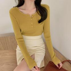 温柔风复古芥末黄色长袖修身针织打底衫女毛衣半开胸扣子内搭上衣