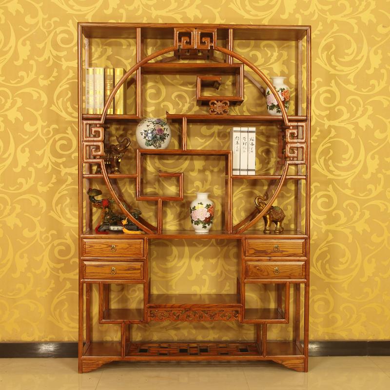 明清仿古中式博古架小多宝阁1米茶叶架圆形榆木隔断古董架全实木