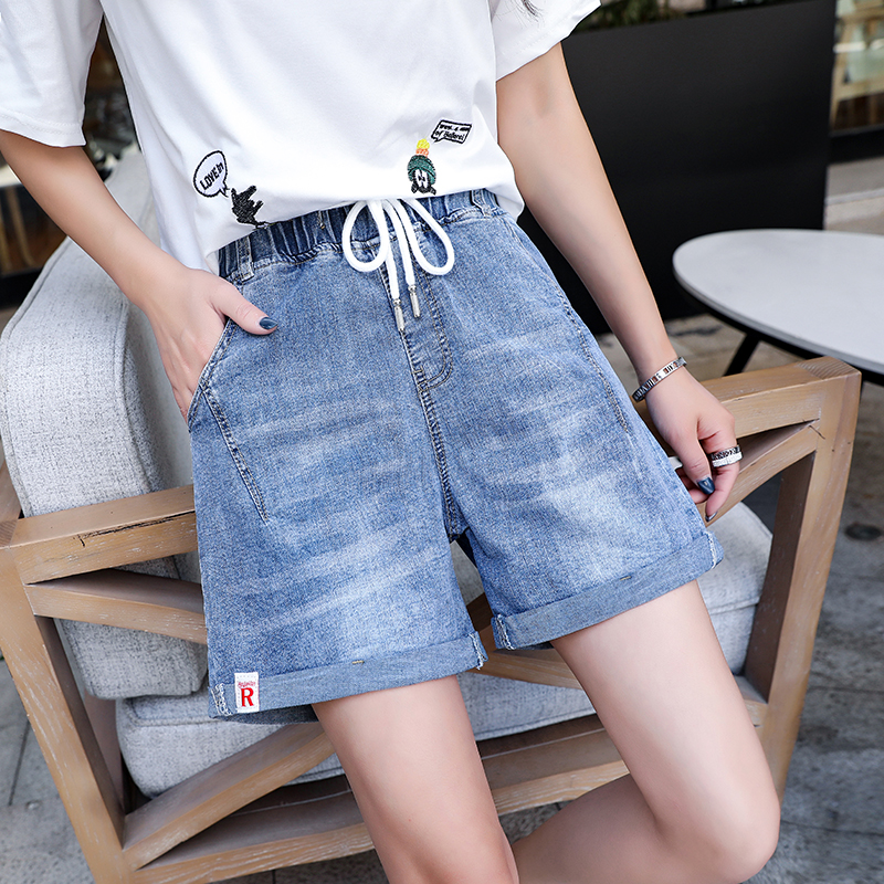 Stretch denim shorts womens summer 2020 new plus size fat mm loose thin elastic waist flanging wide leg hot pants