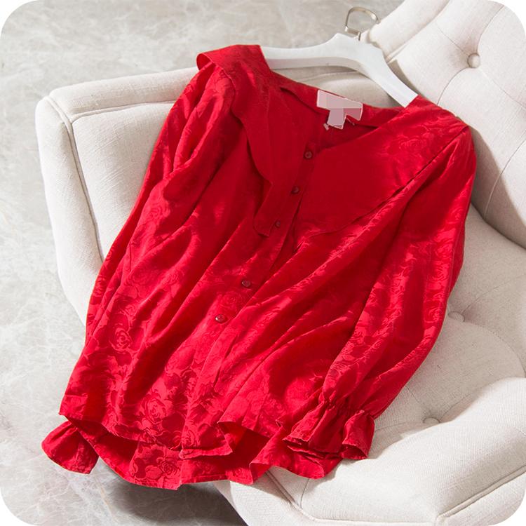 爱了这颜色 重磅桑蚕丝提花缎面 法式荷叶袖真丝开衫衬衫