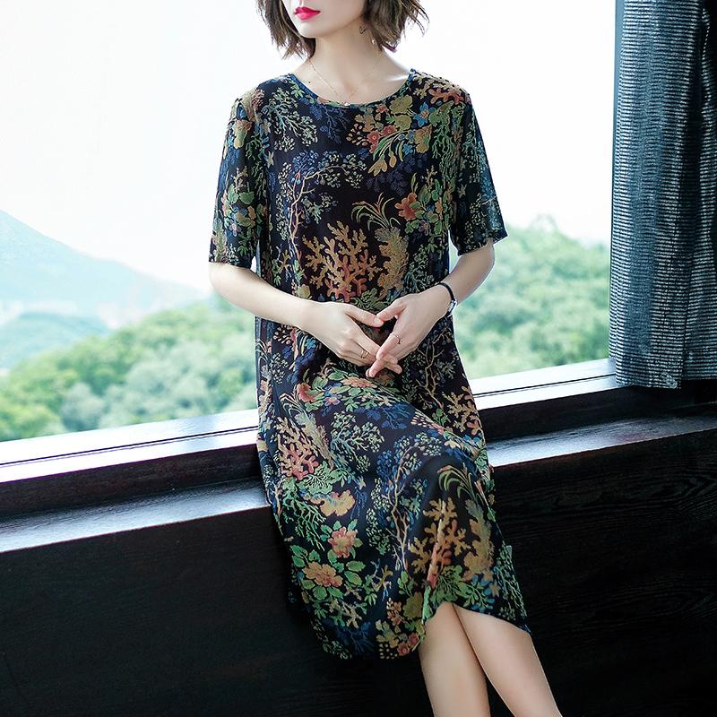 实拍新款中年女装夏装妈妈阔太太碎花短袖连衣裙夏季中长雪纺裙子(非品牌)