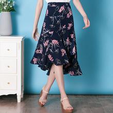 时尚半身长裙女夏季新款荷叶边半身裙女夏中长款a字不规则碎花裙