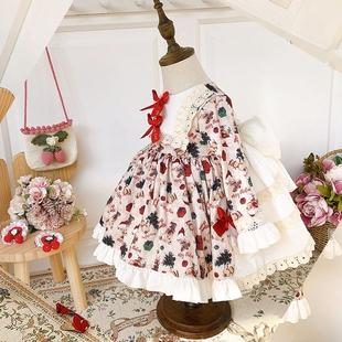 西班牙寶寶公主裙秋冬宮廷風週歲生日洋裝女童洛麗塔聖誕節連衣裙
