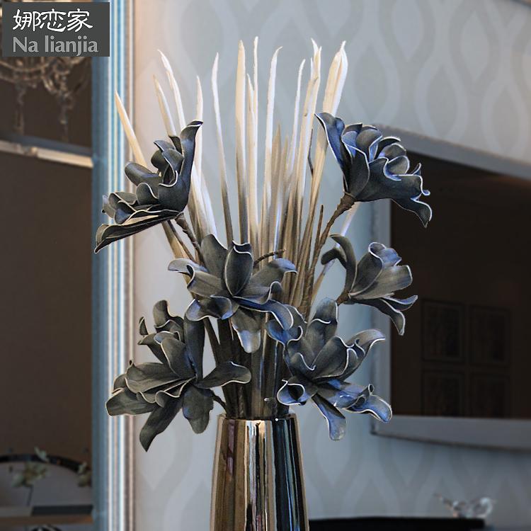 蓝色花高仿真花客厅电视柜花瓶假花家居装饰品花艺树室内落地花卉