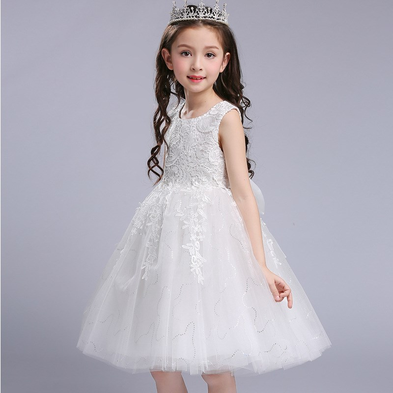 蓬蓬�裙女�和�公主裙花童白色婚��Y服粉色幼��@演出服夏季女孩