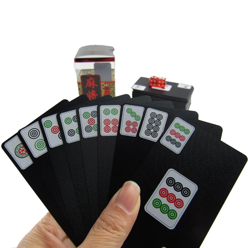 塑料磨砂纸牌麻将纸麻将扑克水晶麻将迷你旅行便携麻将牌送2色子