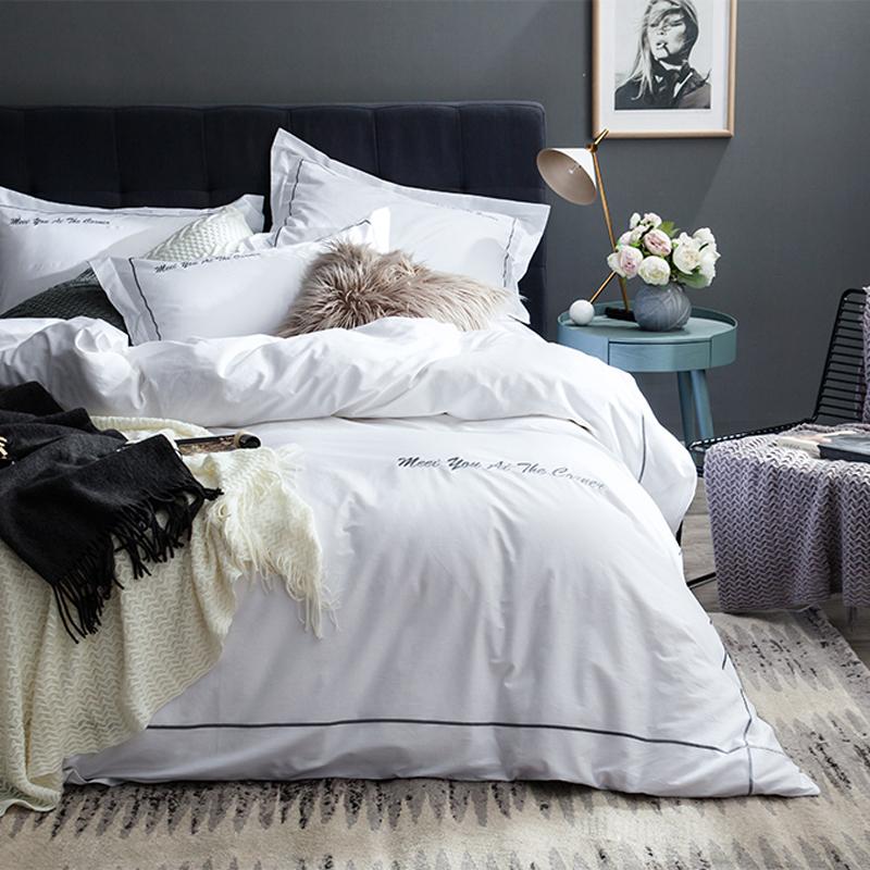 简约北欧风40S纯棉床单酒店刺绣四件套1.8m全棉纯色被套床上用品