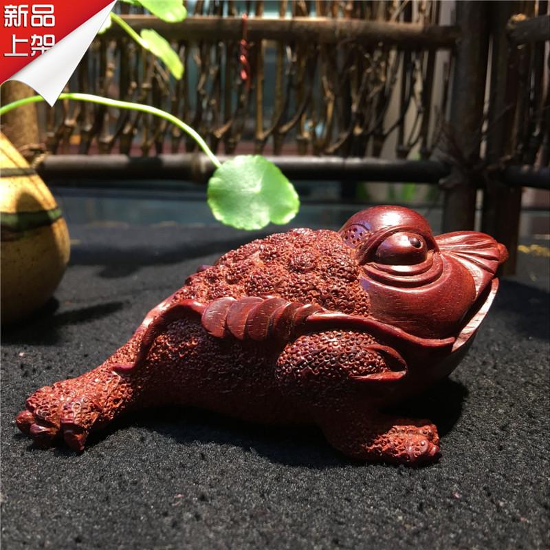 印度小叶紫檀手把件金蟾老料纯手工雕刻貔貅木雕摆件把玩收藏精品