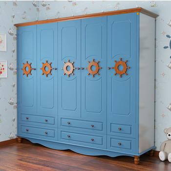 地中海儿童衣柜平开式两门三门四门五门衣柜组合储物衣橱住宅家具