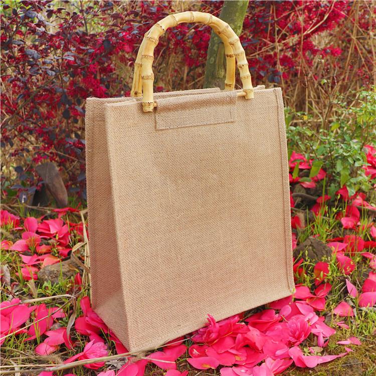 Bamboo handle handbag original cotton linen small fresh Handmade Large environmental protection shopping bag womens forest art fashion bag customization