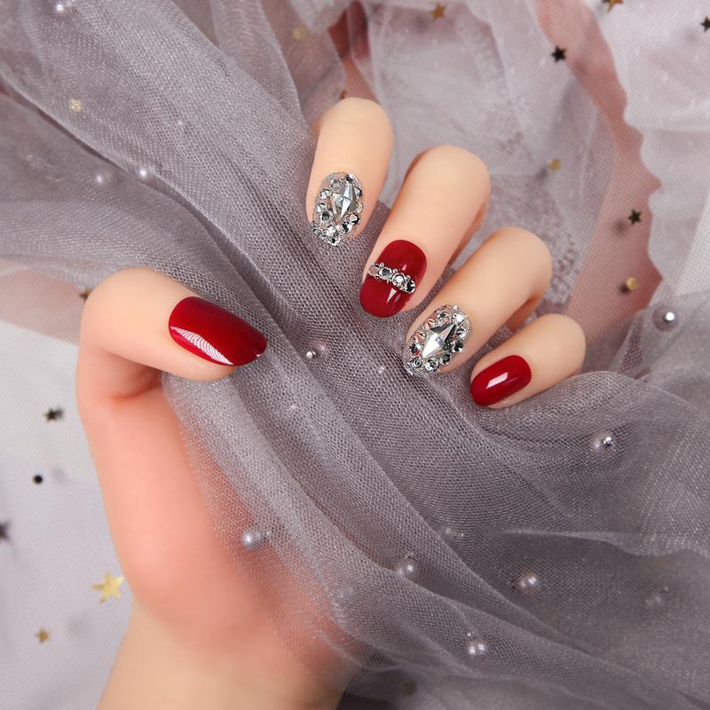 日式美甲成品带钻石穿戴式新娘婚礼红色网红抖音款甲片假指甲贴片