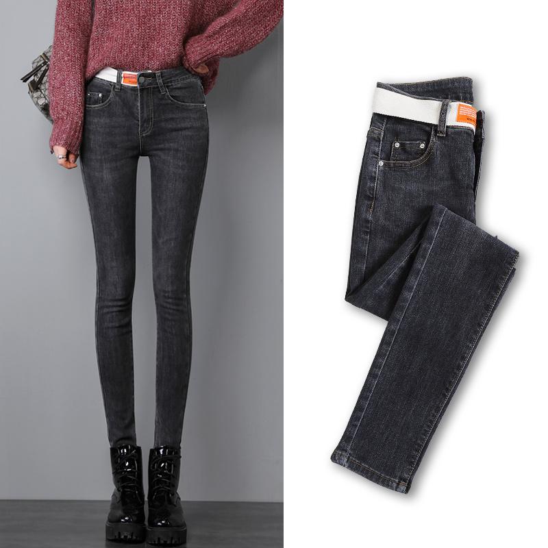 High waist jeans womens autumn 2019 new spring and autumn Korean elastic Capris slim tight Leggings