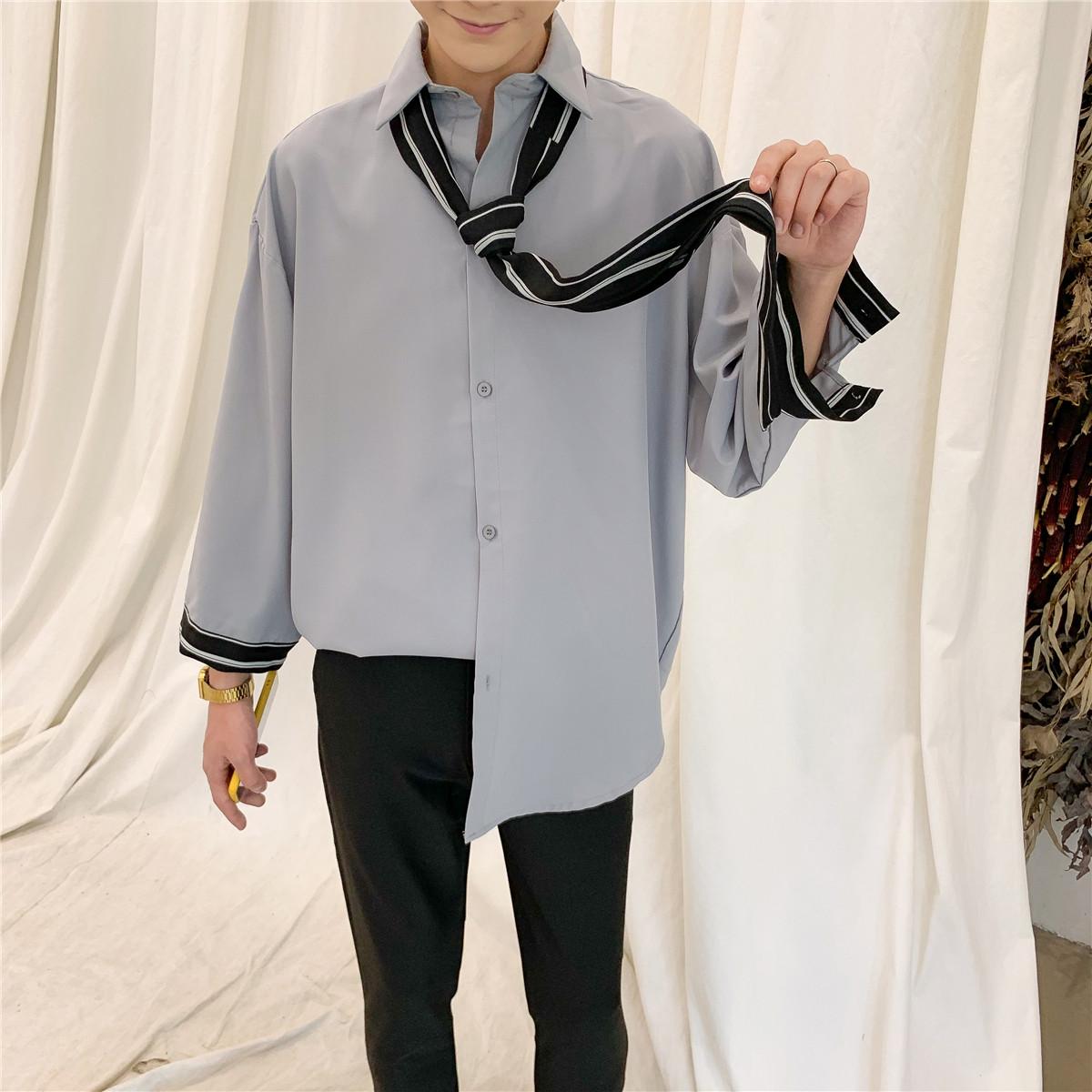 的仙秋季清新外套ins衬衣长袖韩版潮流洋气小领带很衬衫男装宽松