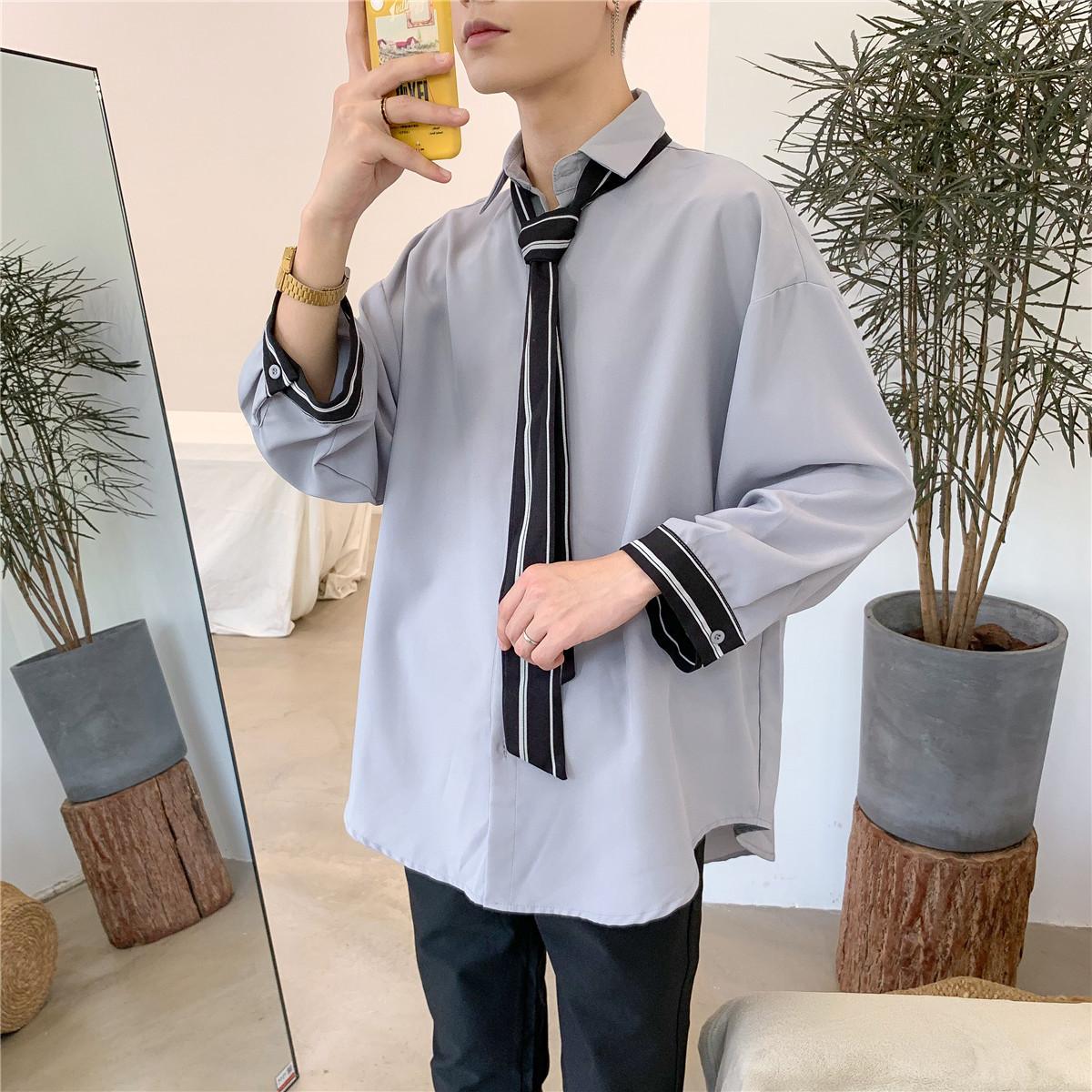 秋季小清新ins领带衬衫男装很仙的洋气长袖衬衣韩版潮流宽松外套